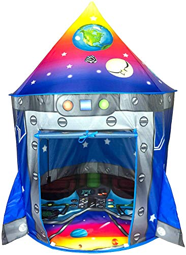 Product Image of the Rocket Ship Play Tent Playhouse | Unique Space and Planet Design for Indoor and...