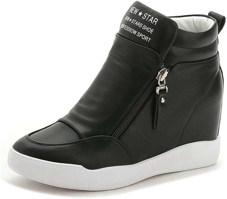 Fashion shoesbox Woman High Top Wedges Sneakers Flat Casual Soft Hidden Heel Height Increasing Platform Walking shoes
