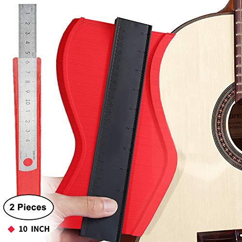 Contour Duplicator Gauge,DUTISON Replicatore di Contorno Professionale 10 Pollici per irregolare profile misuratore,piastrelle laminato e lavorazione del legno saker contour duplication gauge (Rosso)