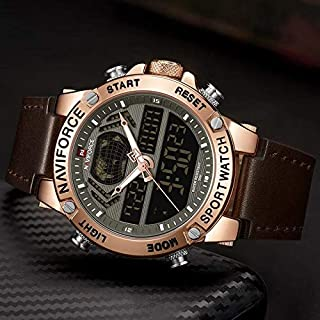 NAVIFORCE NF9164M Watch Men Top Luxury Brand Leather Waterproof Sports Men Watches Quartz Analog Digital Watch Male