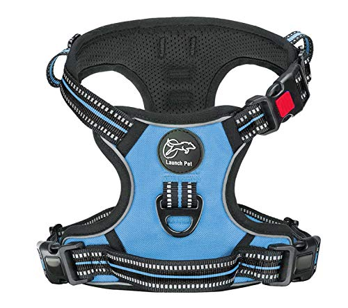 Launch Pet No-Pull Dog Harness Adjustable & Breathable Heavy Duty Reflective Vest Material with Front Clip and 2 Strong Leash Attachments & Easy Walk Control Handle for Medium Dogs - (Medium, Blue)