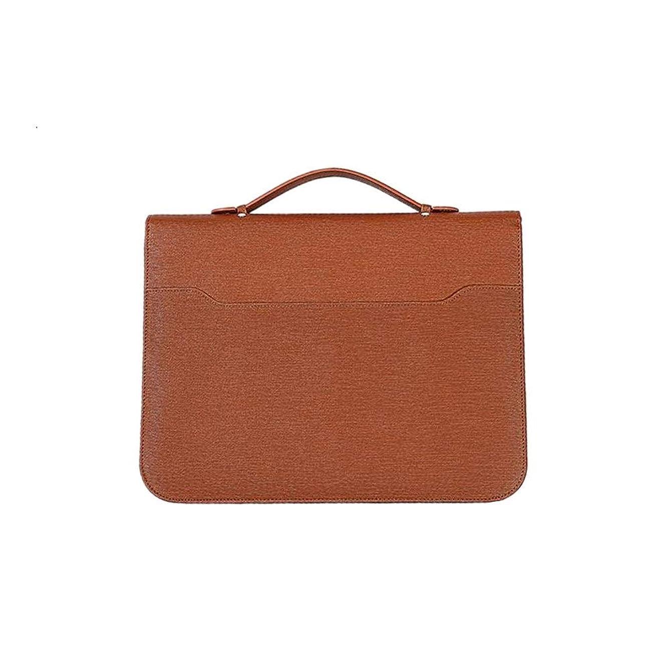 起きてカーフ欠乏多機能フォルダー クリップボード ビジネススクールオフィス会議のA4レザー会議フォルダのビジネスノートブック多機能ジッパーポータブルフォルダフォールド レザーファイルオーガナイザー (Color : Brown, Size : 265x345mm)