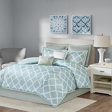 King Comforter Set Milton - 8 Piece - Fretwork Print Merritt - Blue - Faux Silk Shiny Effect - Includes Comforter Shams Bedskirt Euro Shams Dec Pillows