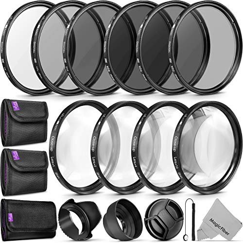 58MM Complete Lens Filter Accessory Kit (UV, CPL, ND4, ND2, ND4, ND8 and Macro Lens Set) for Canon EOS 70D 77D 80D 90D Rebel T8i T7 T7i T6i T6s T6 SL2 SL3 DSLR Cameras