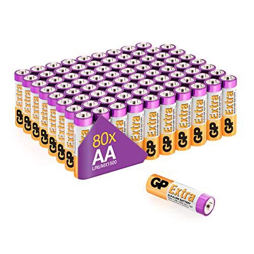 GP Extra Alkaline Batterien AA Longlife (1,5V) 80 Stück Mignon Batterien R6 Multi-Pack, ideal für die Stromversorgung von Geräten des täglichen Bedarfs (briefkasten-geeignete Verpackung)