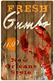 Tin Sign Vintage Chic Art Decoration Poster Fresh Gumbo New Orleans Lobster for Store Bar Home Cafe Farm Garage or Club 12' X 8'