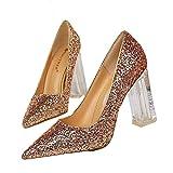 Bombas de tacón de Bloque de Mujer Zapatos de Corte de Punta Estrecha Zapatos de tacón de Cristal...