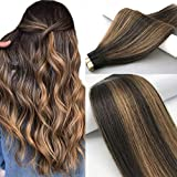 Labhair Tape In Hair Extensions Human Hair #2 Dark Brown Highlighted #6 Light Brown Hair Extensions Tape in Human Hair Ombre Balayage Real Human Hair Extensions 50g 20pcs/set 16inch