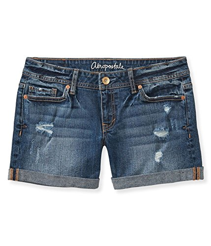 Aeropostale Womens Medium Wash Boyfriend Casual Denim Shorts, Blue, 000 Size