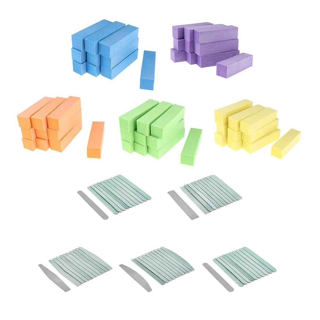 追い払うテーブルを設定する強化するCUTICATE プロのマニキュアケアサンディングツールセット、50個4ウェイバッファブロックと50個ネイルファイルブラックストレート両面エメリーボード