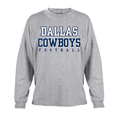 NFL Dallas Cowboys Mens Long Sleeve Practice Tee, Gray, 4X-Large