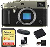 Fujifilm X-Pro3 Mirrorless Digital Camera Body Bundle, Includes: SanDisk 64GB Extreme SDXC Memory Card + Spare Battery + More (6 Items) (Dura Silver)