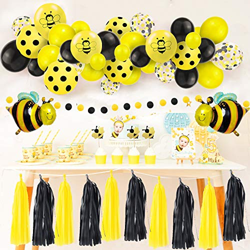 Bee Balloons Garland & Arch Kit,85 pcs Party Decorations Bumblebee Dots Confetti Latex Balloons and Bee Foil Balloon Paper Tassel Cake Toppers, Bee Baby Shower, Bee Birthday Party, Mom to Bee Shower