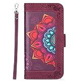 SCRENDY Geldbörsen Handyhülle für Samsung Galaxy A32 5G Hülle, Flip Hülle Tasche mit Magnetverschluss, Leder Schutzhülle mit Kreditkarten-Rot