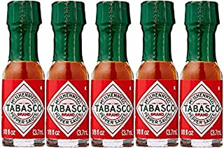 5 x Miniatur 3,7 ml Tabasco Pepper Sauce,, Die Packungen, Survival-Kits, Bushcraft-Kits, Kochen