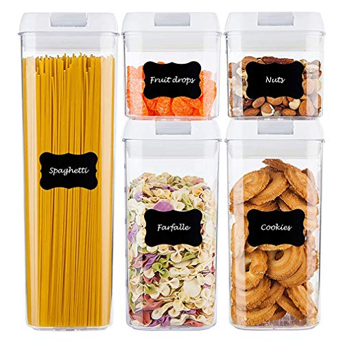 5 Stück Vorratsdosen Luftdicht Vorratsdose Vorratsbox Küchenbehälter Vorratsbehälter Set Mehlbehälter Aufbewahrungsbehälter Küche Transparente Lebensmittelbehälter mit Deckel, BPA frei