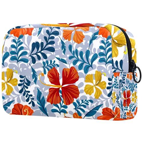Bolsa de maquillaje personalizada para brochas de maquillaje, bolsa de aseo portátil para mujer, organizador de viaje de verano, flores florales