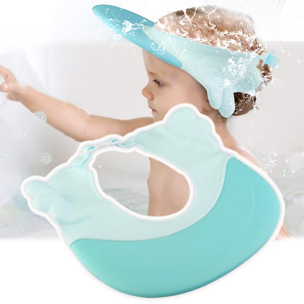 VALORILIMIT Shampoo Cap, Adjustable Baby Shower Visor Bathing Hat, 2 Colors, Soft Waterproof Bathing Protection for Kids, Toddlers, Children (Blue)