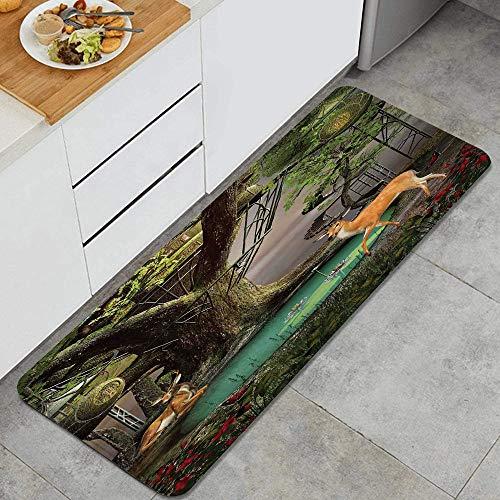 VINISATH Tappeti Cucina Antiscivolo Tappeti per Cucina Lavabile Tappetino Bagno Zerbino Tappeto Cucina Passatoia,Stampa del modello di foresta fantasia cervi