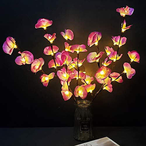 PerfiCap 2 Pack Butterfly Orchid Tree Light LED Lights Battery Powered Decorative Tabletop Lighted Tree Lamp Lighted Branches LED Branch Lights for Christmas Room Home Romantic Decoration (Purple)