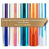 Paquete de vinilo adhesivo Craft holográfico de cromo, 5 hojas, 12 'x12' (5 hojas), colores de múltiples ópalos de arco iris para camafeo y otros cortadores de artesanía para decoración