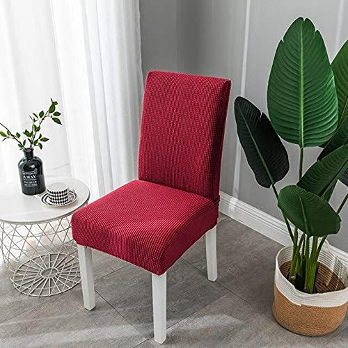 Fodera per sedia da pranzo elasticizzata Schienale jacquard Fodera per sedia in fibra elasticizzata Cucina Matrimonio Soggiorno Decorazione per la casa 6 pezzi vino rosso