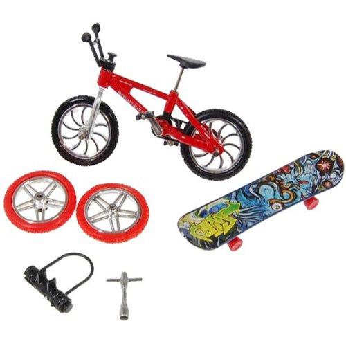 KT Conjunto de Juego del Dedo de la Bici y Tablero del patín del monopatín con Accesorios Set
