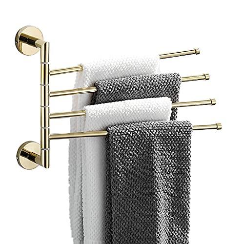 Juego de toallas de oro para baño, toallero giratorio de 180°, barra de toalla de pared de latón, 4 brazos, espacio con gancho anillo de toalla para baño, cocina