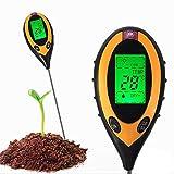 Heerda Testeur de sol 4 en 1 - Testeur d'humidité du sol - Testeur de température et d'intensité du sol - Testeur de température et de lumière du soleil - Pour terre de plantes, ferme, pelouse
