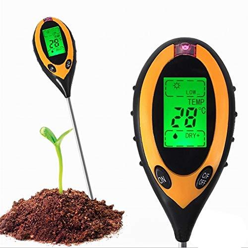 Heerda Comprobador de suelo, 4 en 1, medidor de humedad del suelo, medidor de pH de suelo, temperatura y luz solar, para tierra de plantas, jardín, granja, césped