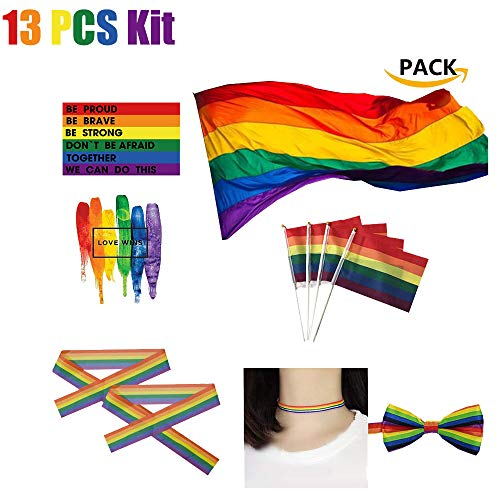 Big LGBT Flag- Rainbow Pride Polyester- Durabol Homosexual LGBT Cylindrical Lesbian for The Day of Pride LGBT Flag Kit Rainbow Symbol Gays, Lesbians, Love is Love Parade Flag