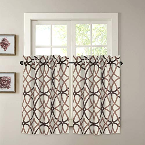 """Blackout Kitchen Curtains Energy Saving Ultra Soft Kitchen Half Window Curtains, Rod Pocket Window Curtain Tiers for Café, Laundry, Bedroom, Sold 2 Panels (Each 29"""" x 45"""", Taupe/Brown)"""