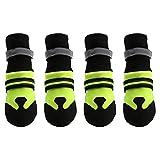 Magic Zone Wasserdichte Hundeschuhe Weave Dog Boots Reflektierende Klettbänder und Anti-Rutsch-Sole, Fluorescent Green, 4 Stück