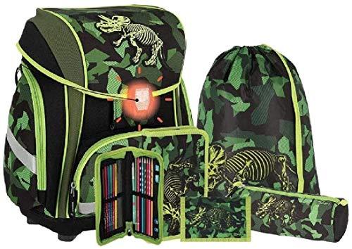 Spirit Triceratops 407848 - Juego de Mochila y Accesorios Escolares 3D Smart de 5 Piezas (Cerradura LED)