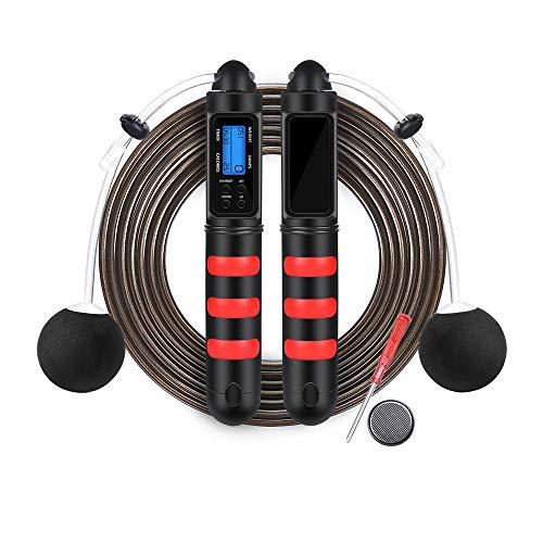 OTraki Springseil mit Digital Zähler, Springseile Fitness Speed Jump Rope Stahl Seil mit Verdicktem PVC Ummantelung, mit Kugellagern & Anti-Rutsch Griffen Drahtlose Seilspringen Ideal zum Trainieren