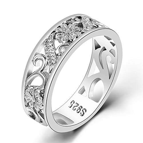 DDDDMMMY Anillos punk, anillo de plata de ley S925, único y simple, anillo de joyería informal exquisito para hombres y mujeres, el mejor regalo de moda para aniversario de boda, 7