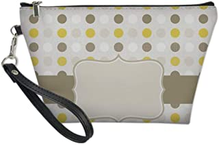 Grey and Yellow Useful Cosmetic Bag,Abstract 60s 50s Inspired Home Decor Polka Dots Image for Travel