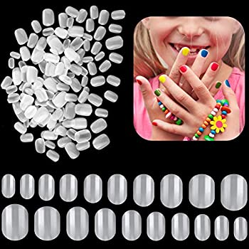 600 Pieces Children False Nails Natural Acrylic Nail Tips for Kids Little Girls Short Full Cover Fake Nails Artificial Fingernail Decoration 10 Sizes