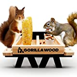GORILLA WOOD – Squirrel Feeder, Giant Size Squirrel Picnic Table, Squirrel Feeders for Outside, 2 Corn Cobs & 2 Nut Bowls High Durability with Abundant Food Storage Fully Assembled Feeder