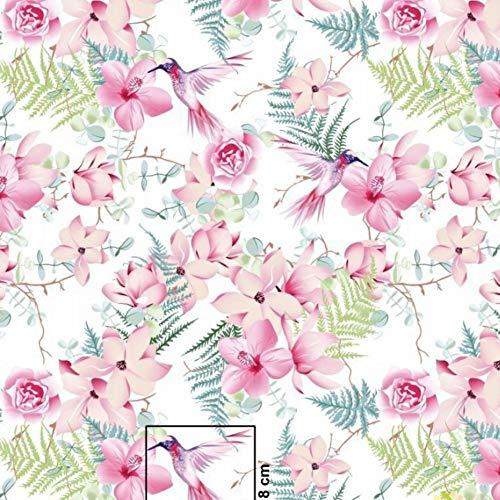 Tissu Pingianer 100 % coton à rayures et fleurs 100 x 160 cm vendu au mètre