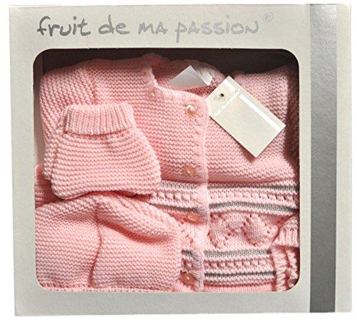 ensemble brassière 4 pièces pour bébé en coffret cj007 cj007rose-blc_Naissance
