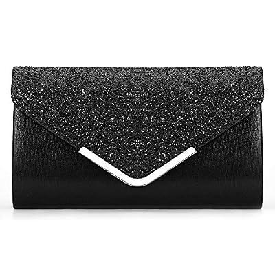 Miss Chow Glittered Envelope Clutch Purse Sequined Evening Bag Lustrous Party Handbag Shiny Shoulder Bag