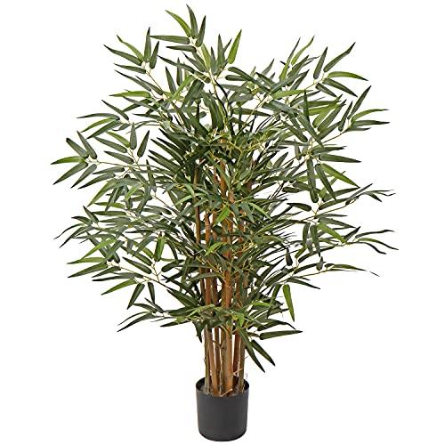Bambus Kunstpflanze Kunstbaum Künstliche Zimmerpflanze mit Echtholzstamm im Zementierter Basistopf, Balkon Terrasse Sichtschutz Bambus, Höhe: 3 Feet/91CM
