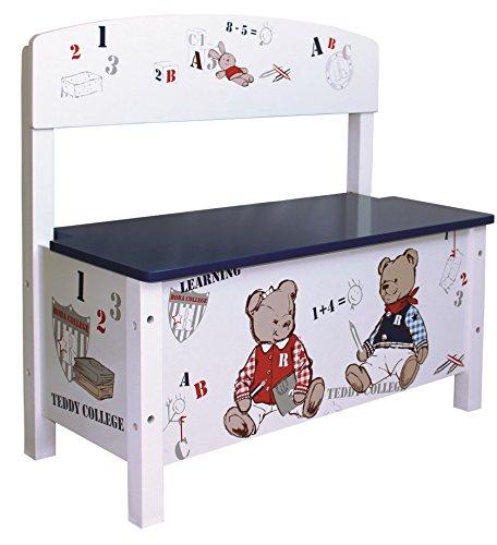 roba Truhenbank 'Teddy College', Sitzbank für Kinder, Kindermöbel zum Sitzen und Aufbewahrung von Spielzeug, weiß bedruckt