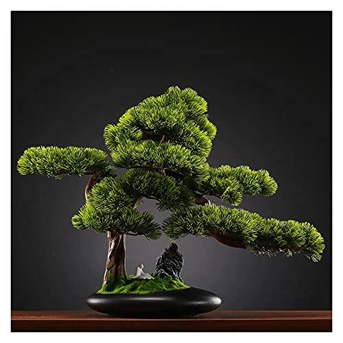 árbol falso 16.9 pulgadas Árbol de bonsáis artificiales, decoración de platos de plástico de plantas, plantas de casas artificiales en maceta, para la oficina en casa, Decoración del jardín Zen Planta