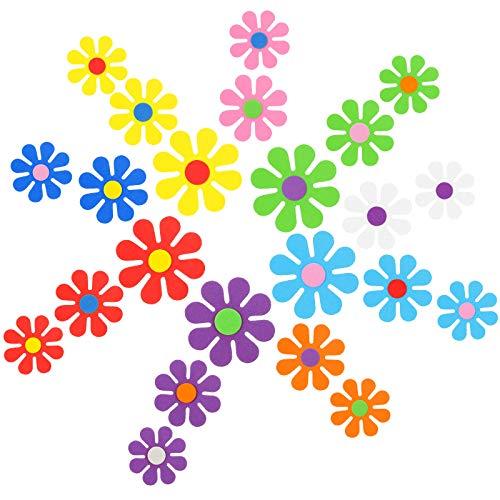 Zonon 118 Pièces Autocollants en Formes de Fleurs en Mousse Découpes de Fleurs Rétro Découpes de Fleurs en Mousse Fête des Années 60 pour Fête Hippie Artisanat Décoration Murale, 3 Tailles