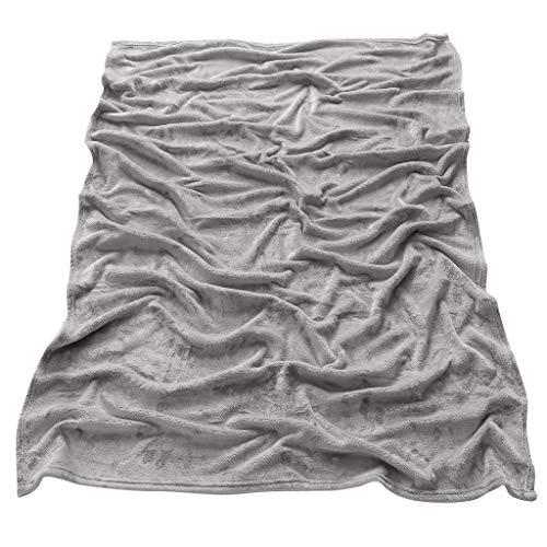 PETSOLA Manta de Cama de Lana de Franela Sofá de Salón Mantas de Alfombra de Tiro Cálido 110x150cm - Gris, Individual