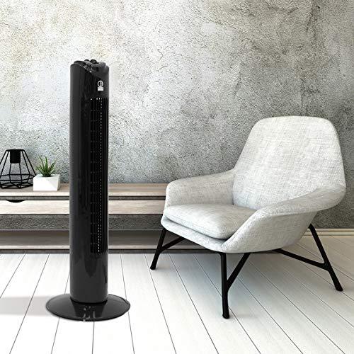 ECD Germany Ventilador de Torre Oscilante Negro 45 w Función Giratorio y Silencioso 81cm de Altura 3 Velocidades Modos Temporizador 60 Minutos Temperatura Ambiente 140º Enfriamiento Potente