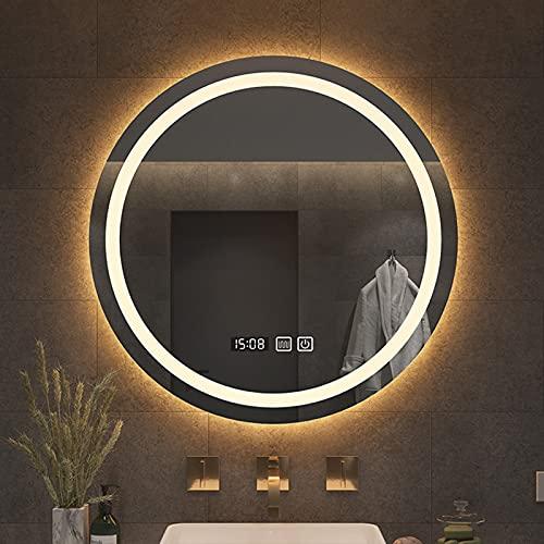 Wowdawn Espejo De Baño LED Redondo, Espejo De Pared LED, Espejo De Baño con Iluminación, Espejo De Maquillaje con Interruptor Táctil Y Antivaho, Regulable En Blanco Cálido/Blanco Frío/Neutro