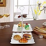Jinlaili 3 Etagen Teller Plastik Weiß Tortenständer Kuchenständer, Cupcake Ständer Muffin Ständer Käseplatte Dessert Ständer für Hochzeit Party Geburtstag Baby Duschen Kuchen Dessert Torten Etagere - 6